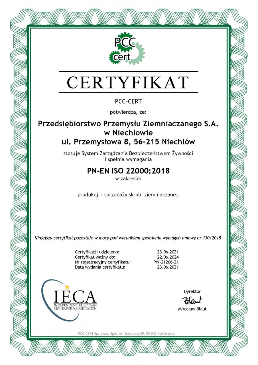 Issued by the Polish Centre for Certification - CERT [Polskie Centrum Certyfikacji - CERT]