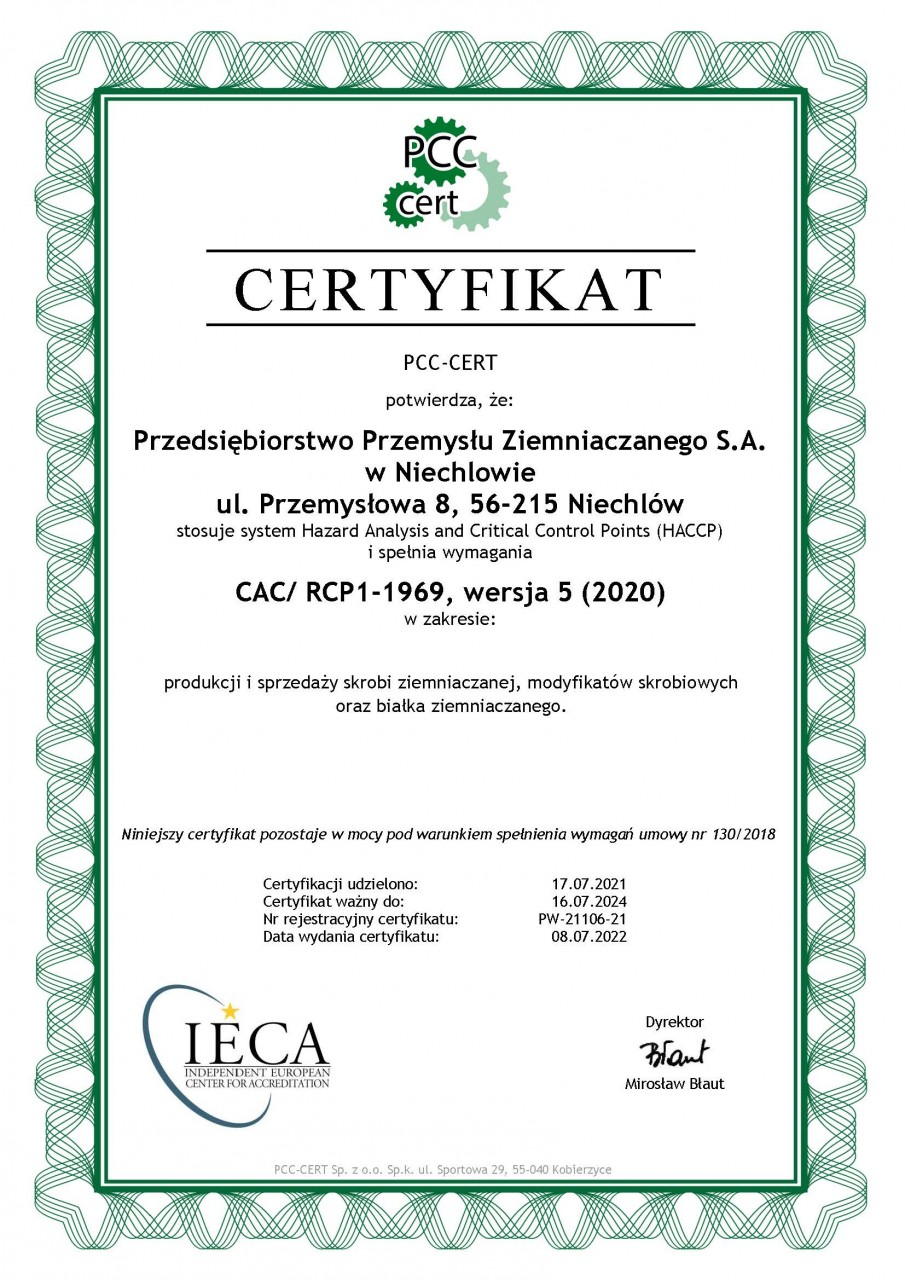 Issued by the Polish Centre for Certification - CERT [Polskie Centrum Certyfikacji - CERT]